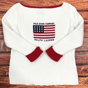 Ralph Lauren Ribbed US Flag Pullover Sweater